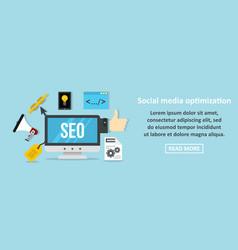 social media optimization banner horizontal vector image vector image