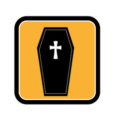 Square frame of halloween with coffin vector