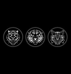 Tiger muzzle emblem set vector