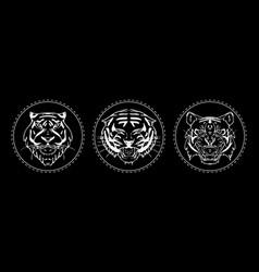 tiger muzzle emblem set vector image