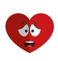 Worried heart cartoon icon vector
