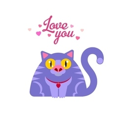 Cat with love you typography vector