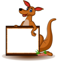kangaroo with blank board vector image