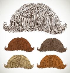 Classic retro lush mustache set vector image