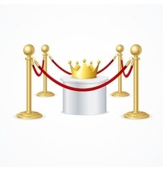 Gold crown and red rope barrier vector
