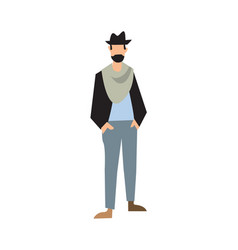 Elegant bearded man in hat pants and jacket vector