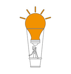 color silhouette image ligth bulb hot air balloon vector image