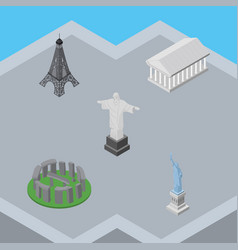 Isometric cities set of rio new york paris and vector