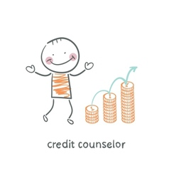 Credit counselor next to the graph from coins vector
