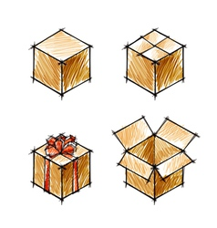 Set of painted doodle sketches of gifts vector image
