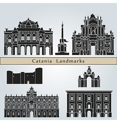 Catania landmarks and monuments vector image