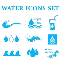 Blue water icons set vector