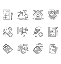 Linear icons for rent of house vector