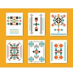 Geometric hipster tribal triangular flyers vector