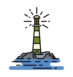 flat line lighthouse sign vector image