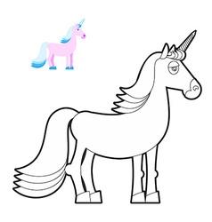 Unicorn coloring book Fantastic animal in linear vector image