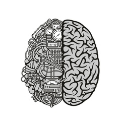 Combined human brain with computing engine icon vector