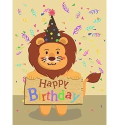 Birthday lion cartoon vector