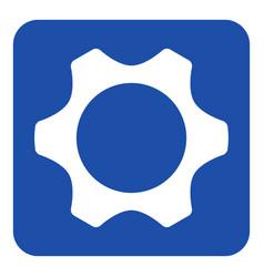blue white information sign - cogwheel icon vector image