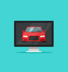 Car or auto on computer screen vector