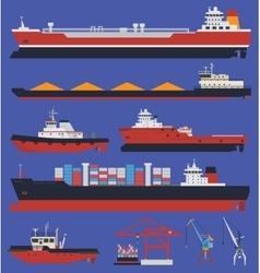 Cargo ships infographic vector