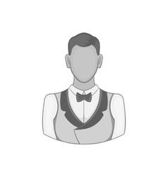 Casino croupier icon black monochrome style vector