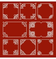 Chinese decorative frames and borders set vector