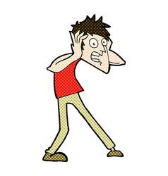 Comic cartoon man panicking vector