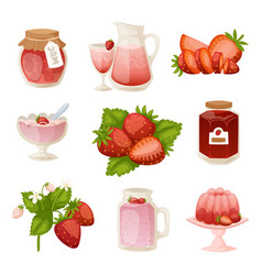 confectionery desserts strawberry milk cake vector image vector image