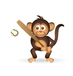 Cute chimpanzee holding baseball bat sport little vector