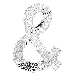 Hand drawn zentangle ampersand for coloring page vector