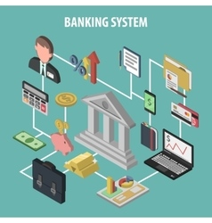 Isometric Bank Concept vector image