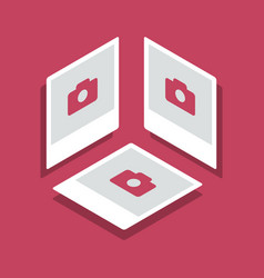 isometric with photo frames in three vector image vector image