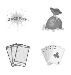 Jack sweat a bag with money won cards for vector
