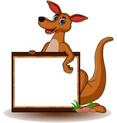 Kangaroo with blank board vector