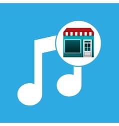 Online market buying music graphic vector
