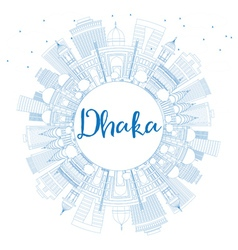 Outline dhaka skyline with blue buildings vector