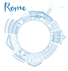 Outline rome skyline with blue landmarks vector