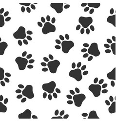 paws print seampless pattern simple monochrome vector image vector image
