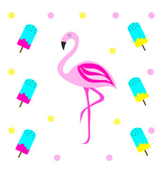 pink flamingo with ice cream vector image
