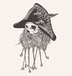 pirate skull with beard vector image vector image