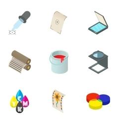 Printout icons set cartoon style vector