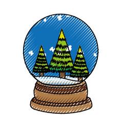 Scribble christmas glass snow ball vector