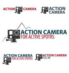 Set action camera logo camera for active sports vector