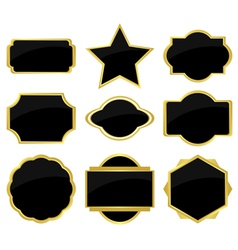 set of black labels vector image