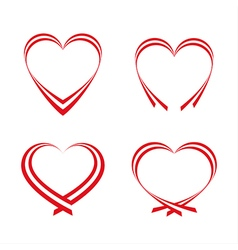 Set of simple red hearts vector image vector image