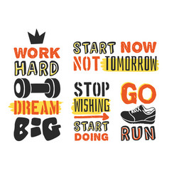 Set of text templates for design sport motivation vector