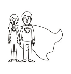 Silhouette cartoon full body couple youngs super vector