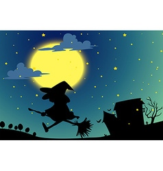 Silhouette witch flying on broom at night vector