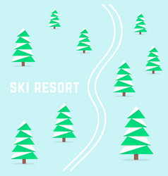 Ski resort with downhill skiing vector